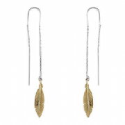 Sterling Silver Yellow Gold Plated Feather Threader Strand Earrings